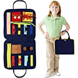 Toddler Busy Board Toy, Improve Fine Motor Skills Early Educational and Sensory Toys, Learning Board with Zippers, Buttons, B