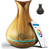 Smart WiFi Essential Oil Aromathery Diffuser - Alexa & Google Home Compatible - 400ml Wood Grain Ultrasonic Aromatherapy Diff