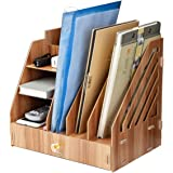 Large Wooden Desk Organizer Storage Multi-Layer Rack, Desktop File Sorter Holder Box Drawer Tray for Notepad A4 Papers Docume