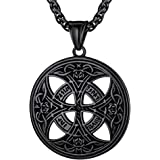 FaithHeart Celtic Knot Pendant Viking Norse Rune Necklace Stainless Steel Vintage Wicca Pentagram Talisman Necklace for Men O