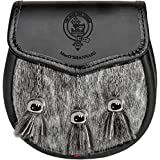 MacO Shannaig Semi Sporran Fur Plain Leather Flap Scottish Clan Crest