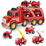 Fire Truck Car Toys Set, Friction Powered Car Carrier Trailer with Sound and Light, Play Vehicle Set for Kids Toddlers Boys C