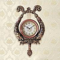 ALUP- ヨーロッパの豪華な樹脂ミュートの壁時計、モダンなリビングルームのベッドルームの装飾の壁のペンダント (色 : #2, サイズ さいず : 44*10*73cm)