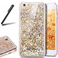 iPhone 6 Plus ケース,iPhone 6S Plus 流れる 液体 ケース,iPhone 6 Plus カバー,SKYMARS 流れる フローティング ラグジュアリー グリッター ス バンパー ケース iPhone 6 Plus / 6S Plus カバー (Golden)