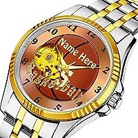 時計、機械式時計 メンズウォッチクラシックスタイルのメカニカルウォッチスケルトンステンレススチールタイムレスデザインメカニ (ゴールド)-351. あなたの名前と番号でクールなバスケットボールの腕時計