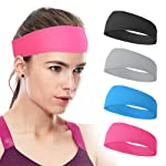 Xcellent Global 4 Pack Sweat Headbands Elastic Wide Head Wraps Sports Hair Bands Unisex for Workout Gym Fitness Yoga SP134