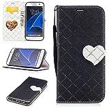 Aireratze(TM) Samsung Galaxy S7 Edge ケース PU 手帳型 携帯電話用 [USBケーブルは無料です] カバー カード収納ポケット付き マグネット式 ストラップ付き スマートフォン保護ケース 両面プリントデザイン 黒い