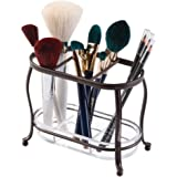 (Vanity Organiser) - mDesign Traditional Cosmetics and Makeup Brush Holder for Bathroom Vanity Countertops - Bronze/Clear