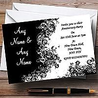 ブラックホワイト渦巻き結婚記念日パーティーPersonalized招待状 10 Invitations