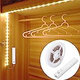 Motion Sensor Wardrobe Light, 1.5M LED Strip Closet Lights, PIR Auto on/Off, Battery Powered Warm White for Bedside, Bathroom