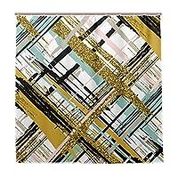 LIASDIVA 防水 シャワーカーテン、ベクターのシームレスパターン手描きゴールド、高級感あり 180x180cm丈 軽量 バスカーテン パーソナライズされたファッションパターン芸術の装飾、カーテンフックC型 付き