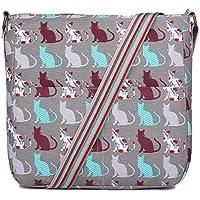 Miss Lulu Canvas Dog Cat Print Cross Body Messenger Bag