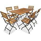 vidaXL Outdoor Dining Set 7 Piece Acacia Wood Garden Foldable Table Chairs