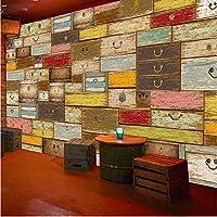 Lixiaoer カスタム3D壁画レトロ壁紙木材コンテナトランクレストランカフェKtv壁画壁紙-280X200Cm