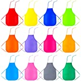 Caydo 12 Pieces 12 Colors Children's Artists Fabric Aprons for Kitchen, Classroom, Community Event, Crafts and Art Painting A