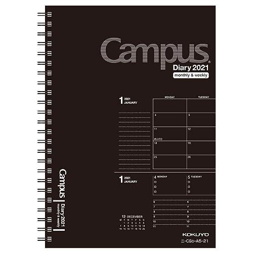 キャンパスダイアリー 手帳 2021年 A5 マンスリー&ウィークリー ブラック