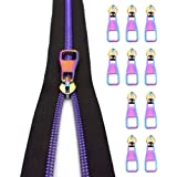 Nylon Coil Zippers by The Yard #5-Long Zippers for Sewing Purple Metallic Teeth Black Tape 5 Yard with 10PCS Rainbow Slider-V