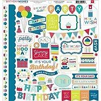 echo park paper birthday wishes boy element cardstock stickers 12