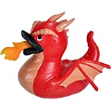 """Wild Republic 22977 Rubber Duck, Gifts for Kids, Bath Toys, Mould Free Pool Toys, Red Dragon, 4"""""""