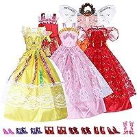 ReFaXi 5枚のドレス+ 10ペア靴セット バービー  ドール 用