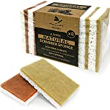 Eco sponges 2 Types Natural Plant Based Scrub Sponge 8 Pack Palm Fiber Scrubbing Sponge with Non Scratch Compostable Sponges