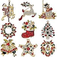 Lamella ブローチピンカラフルな飾りクリスマスラインストーンセット9個セット 気配りの行き届いたサービス