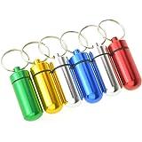 Dxhycc 6pcs Waterproof Aluminum Pill Box Case Bottle Cache Drug Holder Keychain Container Color Random