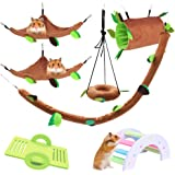 LZYMSZ 7PCS Hamster Hammock, Small Animals Hanging Warm Bed House Cage Nest Accessories with Hanging Tunnel,Swing, Cableway,A