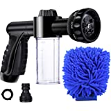EVILTO Garden Hose Nozzle, High Pressure Hose Spray Nozzle 8 Way Spray Pattern with 3.5oz/100cc Soap Dispenser Bottle Snow Fo
