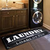USTIDE Black White Laundry Room Rug Runner, Farmhouse Laundry Foam Mats for Washroom Bathroom Non Skid Anti Fatigue Laundry M