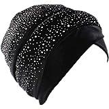 YiyiLai Women Rhinestone Pleated Muslim Headwrap Headband African Hat Cap