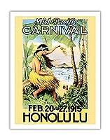 1915ミッドパシフィック・カーニバル - ホノルル、ハワイ - ビンテージなカーニバルのポスター c.1915 - アートポスター - 51cm x 66cm