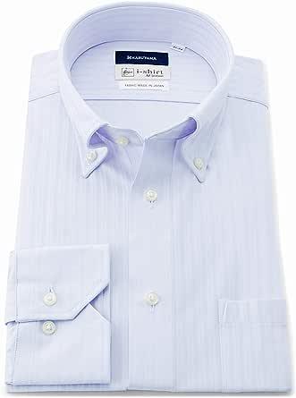 [アイシャツ] i-shirt 完全ノーアイロン ストレッチ 速乾 長袖 ワイシャツ メンズ はるやま サックス スリムサイズ 長袖ボタンダウン M151180045 3L82(首回り45cm×裄丈82cm)-(日本サイズ3L相当)