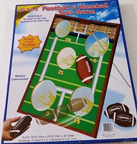 2イン1サッカー&野球トスゲーム、木製、with 4ソフトBeanバッグ