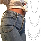 """Wallet Chain Pocket Chain Belt Chains Jean Chains 22.5"""" Silver Keychain with Both Ends Lobster Clasps Keys, Wallet, Jeans Pan"""