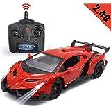 QUN FENG 1/24ランボルギーニ ラジコンカー リモコンカー 車のおもちゃ Lamborghini veneno 電動RCカー リモートコントロール レース ミニカー 高速車 子供 知育玩具 プレゼント 人気 かっこいい 贈り物 赤色