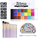 UCANBE Athena Face Body Paint Oil Makeup Set, 20 Colors FX Halloween Party Painting with Stainless Steel Mixing Palette and S
