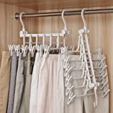 Multi Layer Pants Hangers, FOONEE 6 in 1 Foldable Multi-Functional Clothes Pants Rack with Clips, 360ツー Rotating Magic Space