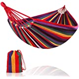 Camping Hammock Colorful Multifunctional Hammock Cotton Fabric Canvas Travel Hammocks 450lbs with Tree Straps Double Camping