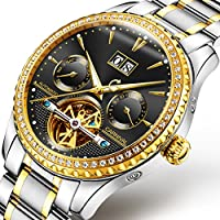 CARNIVAL(カーニバル) 8731G メンズ アナログ機械式 腕時計 ダイヤ装飾 (ブラック/ゴールド/シルバーメタルバンド) [並行輸入品]