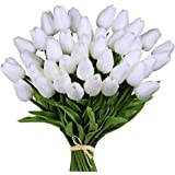"""30pcs White 14"""" Artificial Latex Tulips Flowers for Wedding Party Home Decoration (White-30pcs)"""