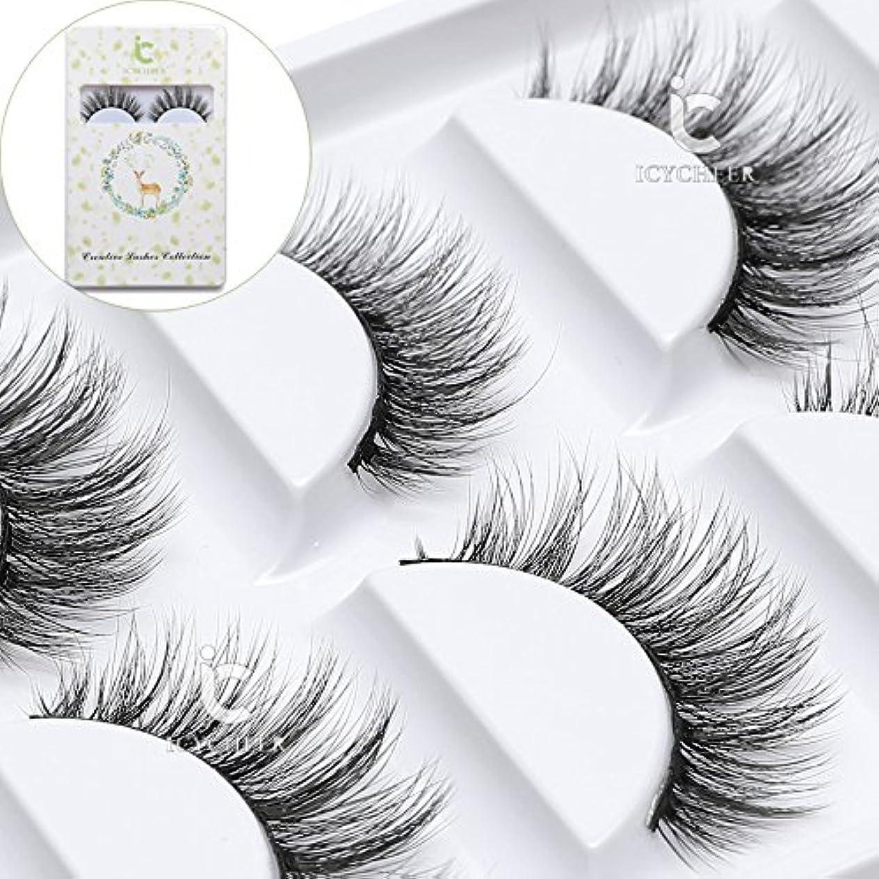 ICYCHEER メイク化粧品5 pairsリアルミンク3dつけまつげ100%シベリアミンクの毛皮natuarl長い厚い偽まつげ手作り