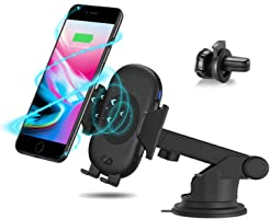 Antank Wireless Car Charger Mount, Automatic 2 in1 Air Vent & Suction Bracket Qi Wireless Fast Charger Phone Holder for Samsung Galaxy S9 Plus/S9/S8 Plus/ S8 /S7edge/S7/Note 8/Note 5 /iPhone X/8 Plus/8