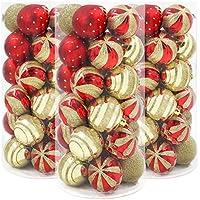 Valery Madelyn 北欧風 クリスマス オーナメント ボール(6cm) 30個入り  S 字メタルフック付 (レッド ゴールド 華麗 カラー)