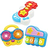 Baby Music Set of 3 Piano Guitar Bongo Drum. Music Learning Education for Ages 9 Months to 4 Years. Small Portable Size for B