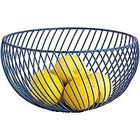 キッチンフルーツバスケットリビングルームスナック食品収納バスケット鍛鉄ブラック/ブルー(25.5 * 13.5 * 9.5cm)