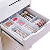 Chris.W Desk Drawer Organizer Tray with Adjustable Dividers, Multi-Drawers for Makeups, Utensil, Pens, Flatware and Junks - S
