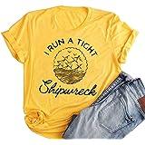 Woxlica I Run A Tight Shipwreck Shirt Funny Graphic T-Shirts for Women