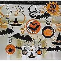 ハロウィン 装飾 飾り パーティー 小物 螺旋状 吊り下げ かぼちゃ コウモリ 蜘蛛30PCs 多種類