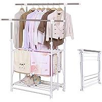 arttranson 室内物干し 洗濯物干し 伸縮式 折りたたみ コンパクト ステンレス キャスター付き 耐荷重50kg…